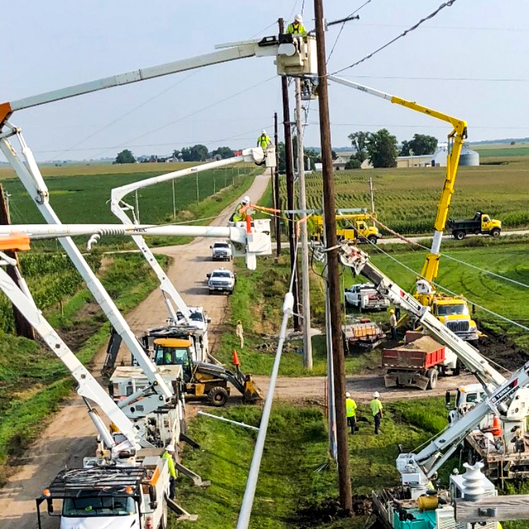 Highline Construction Transmission work with multiple bucket trucks